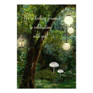 Enchanted garden or park wedding RSVP card