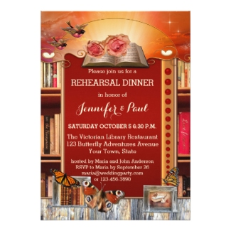 Library or book lovers wedding rehearsal dinner invitation