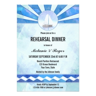Watercolor painted sailboat or nautical theme wedding rehearsal dinner invitation
