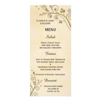 Chic Gold Floral On Watercolor Wedding Menu