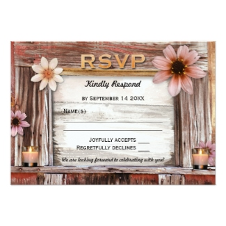 Rustic boho chic wedding RSVP invitation card