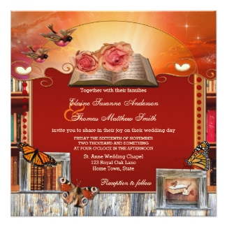 Book lovers or magical library wedding invitation