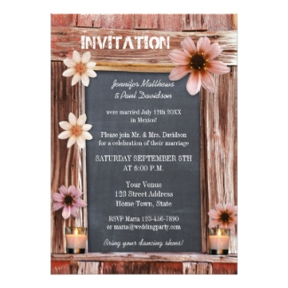 Bohemian chic chalkboard and flower post wedding invitation