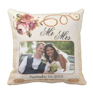 Chic floral and rose gold on ivory ecru wedding photo pillow