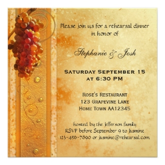 Classic grapes wine theme rehearsal dinner invitation