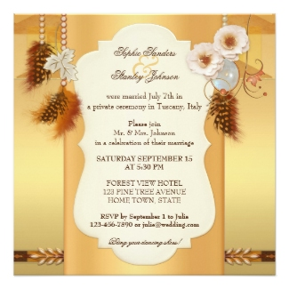 Wedding invitation with a dreamcatcher theme with feathers on gold and rose gold