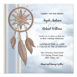 Dusty Blue Dreamcatcher Wedding Invitation - symbolic meaning of dreamcatchers for weddings