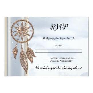Dusty blue dreamcatcher wedding RSVP card