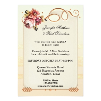 Elope or post wedding reception only celebration invitation in ivory and rose gold with flowers