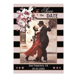 Blush pink and black striped photo Save the Date card with flowers