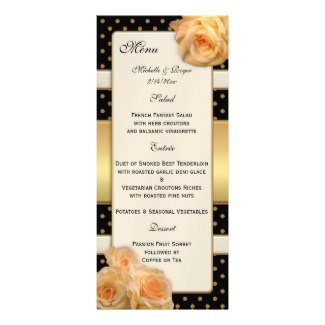 Glam or boho chic wedding, Thanksgiving or Christmas dinner menu with chic gold and roses