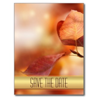 Gold autumn or fall leaves Save the Date card