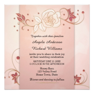Rose gold watercolor wedding invitation with roses