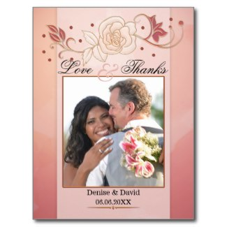 Rose gold watercolor floral photo wedding thank you card