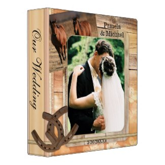 Wedding planner, guest book or photo album with an equestrian theme with horses and horseshoes