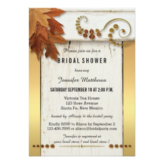 Rustic white wood with gold and autumn leaves bridal shower invitation