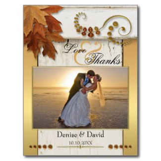 Boho chic fall wedding photo thank you card with gold metallic and rustic wood