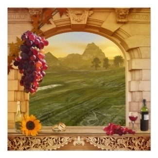 Vineyard or wine theme wedding invitation with a romantic Italian style painting