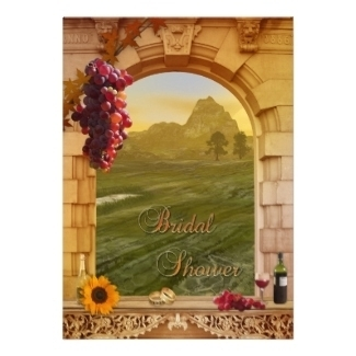 Vineyard or wine theme bridal shower invitation with grapes, a sunflower and a romantic Italian style landscape painting