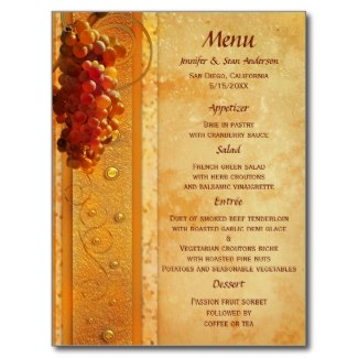 Vintage vineyard or wine theme classic menu card with grapes