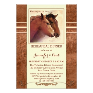 Country rehearsal dinner invitation with a watercolor painting of horses