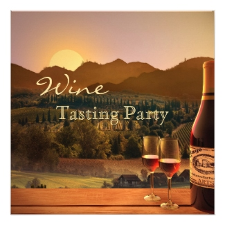 Wine tasting party invitation with a vineyard landscape