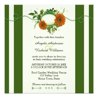Green striped floral wedding invitation - perfect for a winter wedding, Christmas wedding or a garden wedding