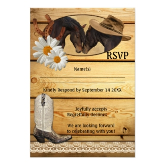 Rustic country and western wedding RSVP card with horses