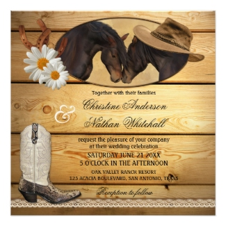 Rustic country and western wedding invitation with lace and horses