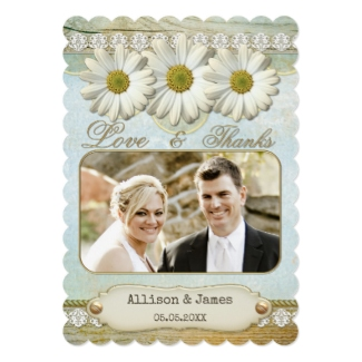 Rustic daisy wedding thank you card featuring your own favorite wedding photo
