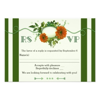 Green striped floral winter wedding RSVP invitation with flowers