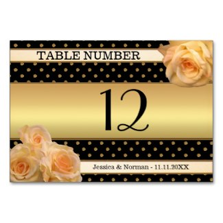 Chic black and gold table number card with peach roses
