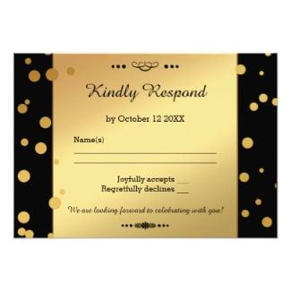 Gold on black confetti wedding RSVP card