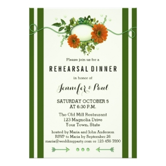 Green stripes with floral design rehearsal dinner - nice for Christmas or a garden celebration
