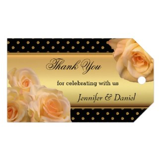 Romantic peach roses on gold and black gift tag