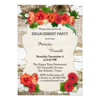 Engagement party invitation featuring red flowers and green leaves on a rustic wood background - nice for Christmas or a garden celebration