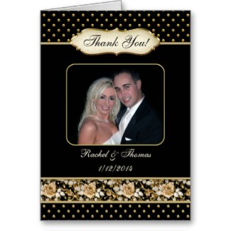 Vintage black and gold rose photo wedding thank you card