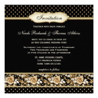 Traditional vintage chic wedding invitation featuring gold roses and polka dots on black