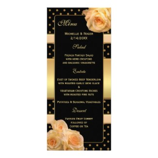 Chic black and gold (wedding) menu card with coral peach roses