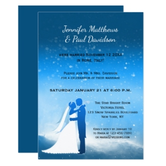 Blue winter wedding elope or post or after wedding reception only invitation