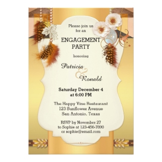 Gold and rose gold engagement invitation with a dreamcatcher theme