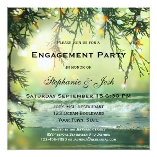 Green sparkling beach engagement or Christmas engagement invitation