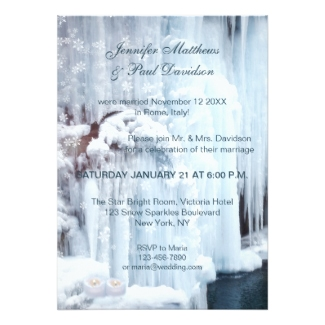 Icicles waterfall winter after or post wedding or reception only invitation