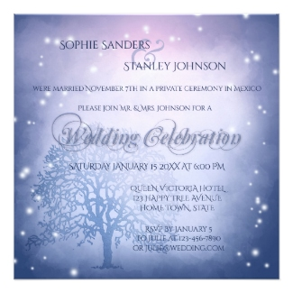 Mystical winter elope or reception only wedding invitation