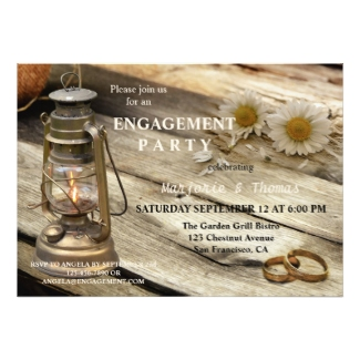 Rustic country and lantern engagement party invitation