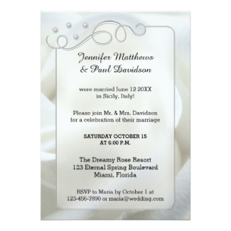 Silver white rose after wedding or reception only invitation