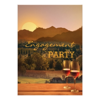Vineyard or wine theme engagement party invitation