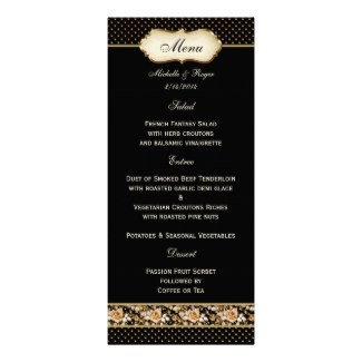 Chic black and gold menu card with vintage roses