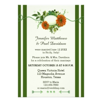 Green floral Christmas wedding reception only or after wedding invitation