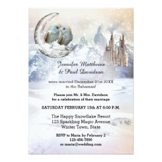 Artistic owls over the moon winter elope or post or after wedding reception only invitation